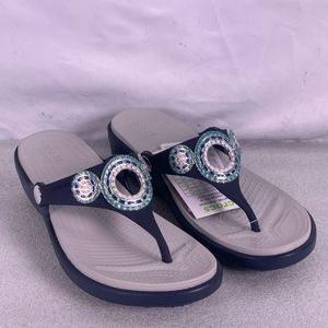 CROCS Sanrah Diamante Wedge Sandals